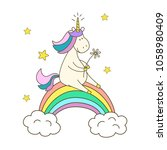 illustration  with cute unicorn ... | Shutterstock .eps vector #1058980409