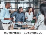 happy to work together. group... | Shutterstock . vector #1058985320