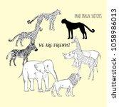 zoo animals background. hand... | Shutterstock .eps vector #1058986013
