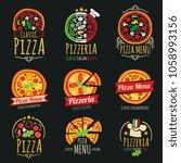 pizza logos. pizzeria italian... | Shutterstock . vector #1058993156