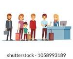 people queue in airport at... | Shutterstock . vector #1058993189