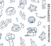seamless vector sea pattern.   Shutterstock .eps vector #1058994188