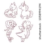 a set of linear drawings  ...   Shutterstock .eps vector #1058994194