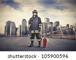 Fireman Wearing His Uniform...