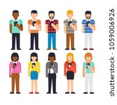 set of people stand using... | Shutterstock .eps vector #1059006926