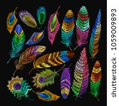 beautiful feathers of tropical... | Shutterstock .eps vector #1059009893