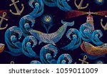embroidery whales and anchor ... | Shutterstock .eps vector #1059011009
