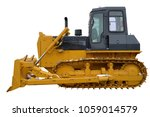 Small photo of The image of a yellow tractor. Crawler bulldozer. Isolated on white.