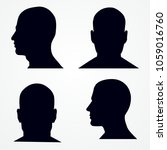 silhouette of a man's head.... | Shutterstock .eps vector #1059016760