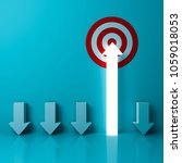 one light arrow aiming to goal... | Shutterstock . vector #1059018053