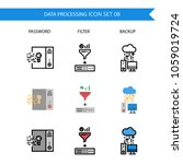 data processing icon set... | Shutterstock .eps vector #1059019724