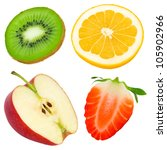 fruit slices isolated on white | Shutterstock . vector #105902966