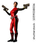 futuristic warrior woman armed with two guns, red and black suit, 3d illustration