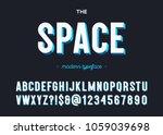 space modern typeface. alphabet ... | Shutterstock .eps vector #1059039698