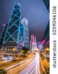 hong kong city at night ... | Shutterstock . vector #1059046106