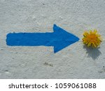 Painted Blue Arrow And Yellow...