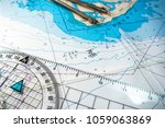 navigational compass with map ... | Shutterstock . vector #1059063869