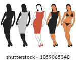 vector silhouettes of woman in... | Shutterstock .eps vector #1059065348