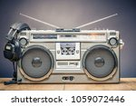 retro outdated portable stereo...   Shutterstock . vector #1059072446