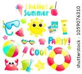 hello summer. set of cute... | Shutterstock .eps vector #1059076310