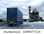 truck on highway road with... | Shutterstock . vector #1059077114