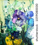 pansy flower. abstract acrylic... | Shutterstock . vector #1059080030