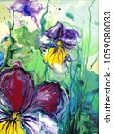 pansy flower. abstract acrylic... | Shutterstock . vector #1059080033