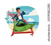 businessman riding on banknote... | Shutterstock .eps vector #1059082280