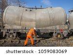 a railway worker in hi viz...   Shutterstock . vector #1059083069