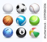 realistic sports balls set.... | Shutterstock . vector #1059084206