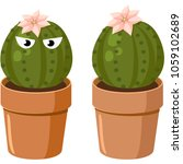 blooming spiny green cactus...   Shutterstock .eps vector #1059102689