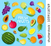 colorful cartoon fruit poster... | Shutterstock .eps vector #1059118769