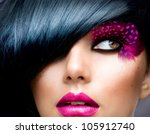 fashion brunette model portrait.... | Shutterstock . vector #105912740