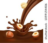 hazelnut with liquid chocolate... | Shutterstock .eps vector #1059154406