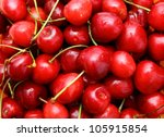 bunch of red red cherry with... | Shutterstock . vector #105915854