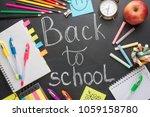 text back to school chalk... | Shutterstock . vector #1059158780