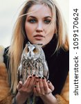 Blonde Woman With An Owl In He...