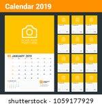 wall calendar planner for 2019... | Shutterstock .eps vector #1059177929
