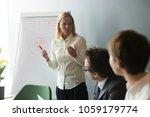 serious businesswoman speaking... | Shutterstock . vector #1059179774