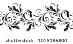 outline floral seamless pattern.... | Shutterstock .eps vector #1059186800