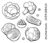 outline hand drawn set of... | Shutterstock .eps vector #1059188414