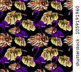 tropical pattern. watercolor... | Shutterstock . vector #1059191960