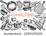 vector set with cooking hand... | Shutterstock .eps vector #1059195020