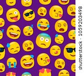 emojis pattern. purple... | Shutterstock .eps vector #1059203498