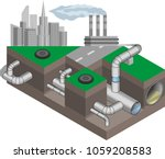 water main system. urban... | Shutterstock .eps vector #1059208583