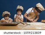 portrait of three children... | Shutterstock . vector #1059213839