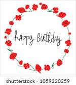 red poppy happy birthday card... | Shutterstock .eps vector #1059220259