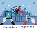 voip technology. man and woman... | Shutterstock .eps vector #1059221693