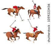polo players set . vector... | Shutterstock .eps vector #1059223436