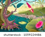 view on the forest with colored ... | Shutterstock .eps vector #1059224486